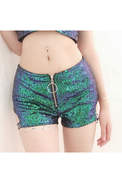 Womens Cool Zipper Fly Cutout Side Dance Night Club Sequined Shorts