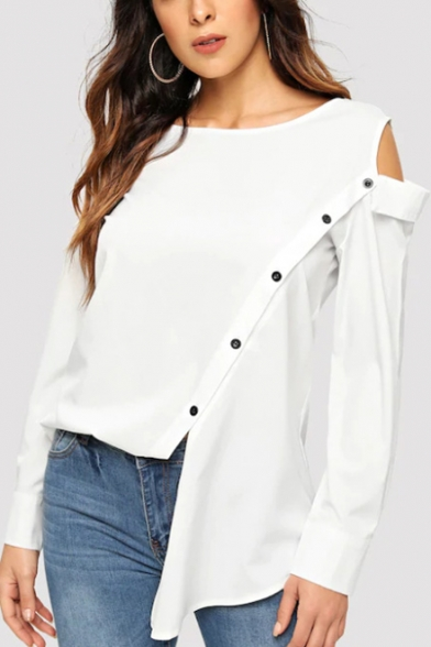 Womens Designer Unique Cold Shoulder Long Sleeve Oblique Button Front White Shirt Blouse