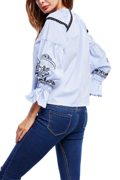 Womens Ethnic Style Embroidery Long Sleeve Blue Striped Blouse