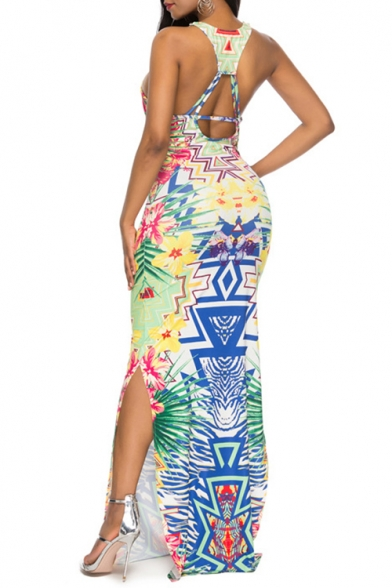 Womens Fancy Tribal Printed Sleeveless Sexy Split Side Maxi Bodycon Slip Dress