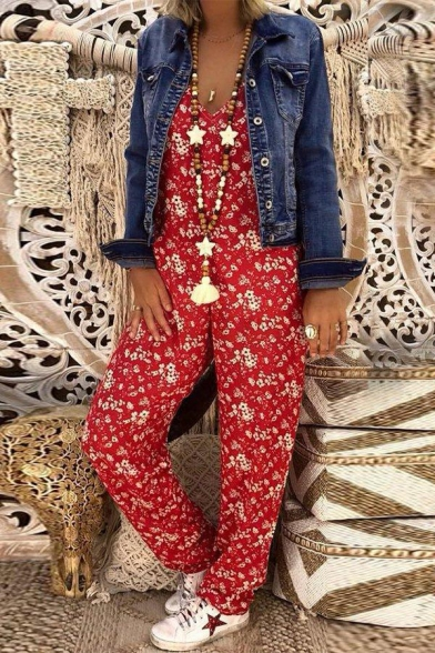 Womens Fashion Floral Printed V-Neck Sleeveless Holiday Casual Jumpsuits