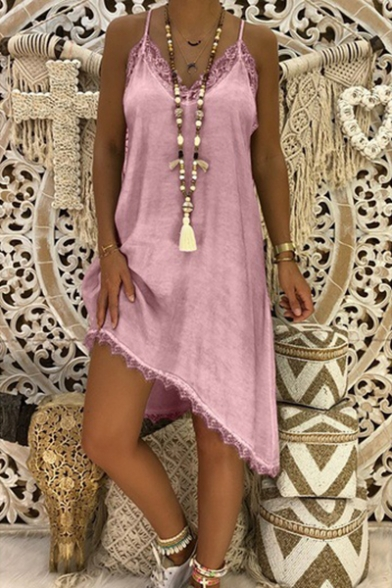 Womens Hot Popular Simple Solid Color Chic Lace Trim Sleeveless Midi Casual Slip Dress