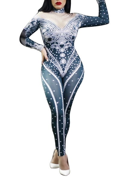 Womens New Arrival Hot Popular Long Sleeve Beading Printed Stretch Skinny Fitted Jumpsuits
