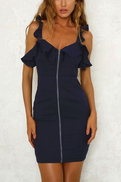 Womens Summer Fancy Ruffled Hem V-Neck Sleeveless Zipper Front Plain Mini Bodycon Dress