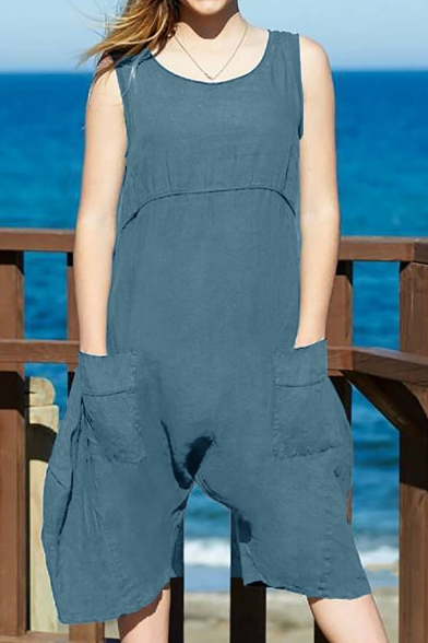 Womens Summer Fashion Simple Plain Sleeveless Casual Linen Romper with Pocket LM546164 фото