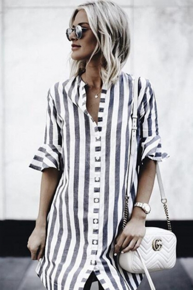 Womens Summer Fashion Vertical Wide Stripe Printed Flared Short Sleeve Loose Fit Tunic Shirt Blouse