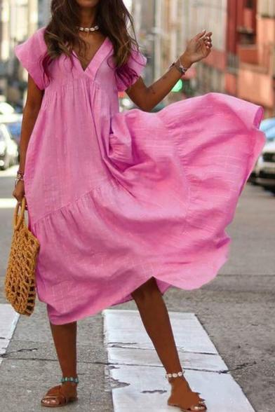 Womens Summer Plain V-Neck Short Sleeve Maxi Swing Asymmetrical Dress