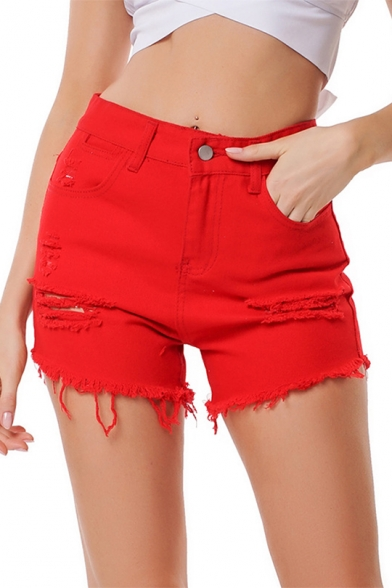 Womens Trendy Red Distressed Ripped Raw Hem Denim Shorts