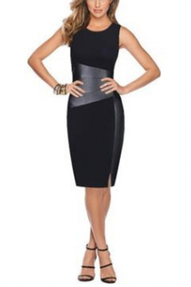 Womens Unique Leather Patched Basic Round Neck Sleeveless Split Side Midi Pencil Dress for Office Lady