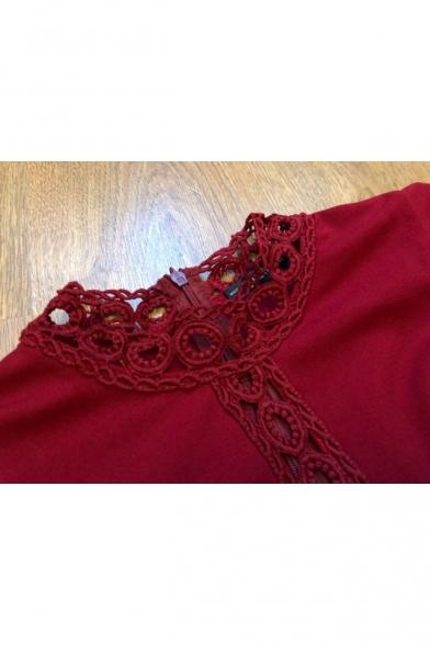 Womens Vintage Burgundy Hollow Out Detail Flutter Sleeve Elegant Midi Pencil Dress for Party