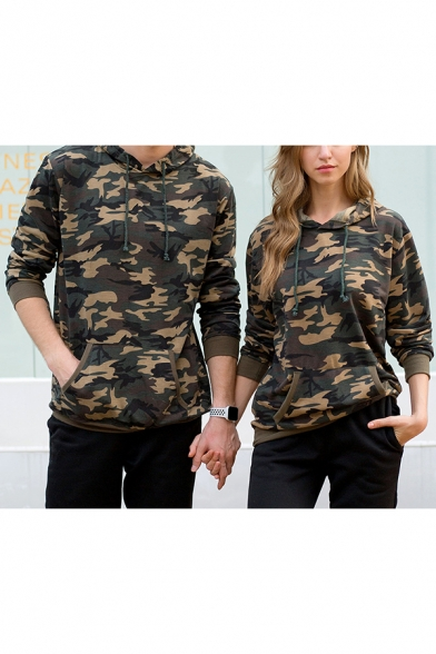 Cool Army Green Camo Print Long Sleeve Unisex Sport Hoodie