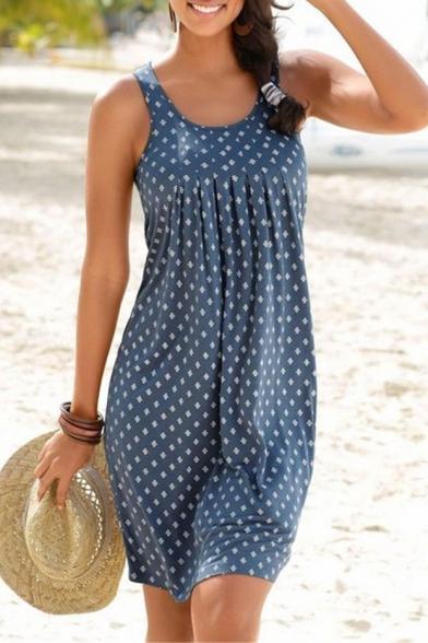 Fashion Blue Allover Star Printed Round Neck Sleeveless Pleated Midi Casual Tank Dress