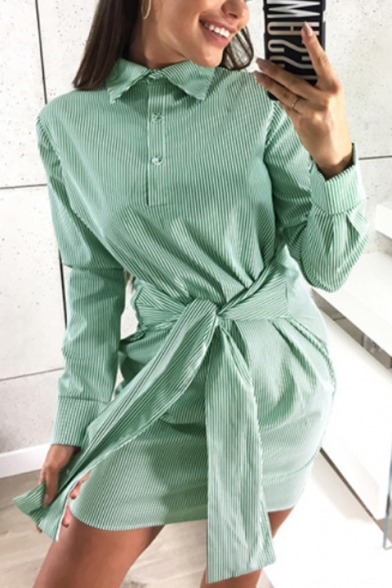 Fashion Classic Striped Printed Button Front Long Sleeve Tied Waist Mini Shirt Dress