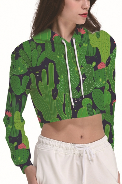 Fashion Green Cactus Print Long Sleeve Sport Cropped Drawstring Hoodie