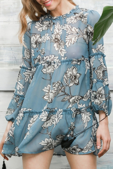 Fashion Hot Sale Long Sleeves Floral Print Round Neck Loose Mini Trapeze Dress