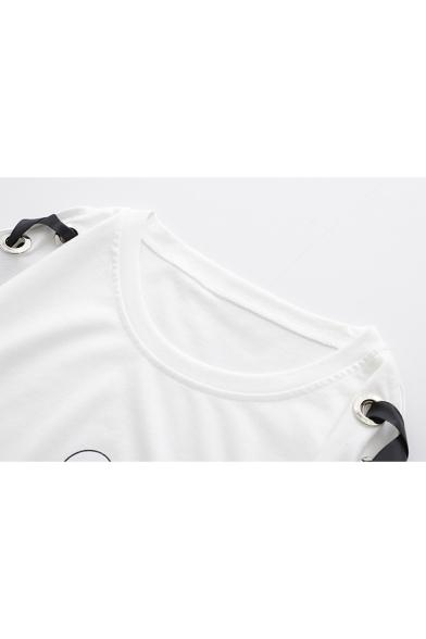 Funny Cute Cartoon Cat Printed Lace-Up Short Sleeve Loose Fit T-Shirt