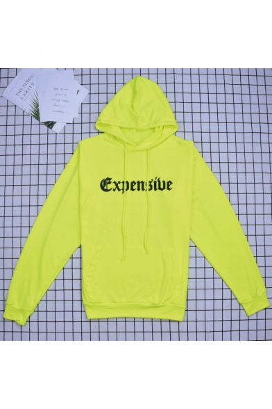 Girls Cool Street Style Letter EXPENSIVE Print Long Sleeve Flourescent Green Long Hoodie