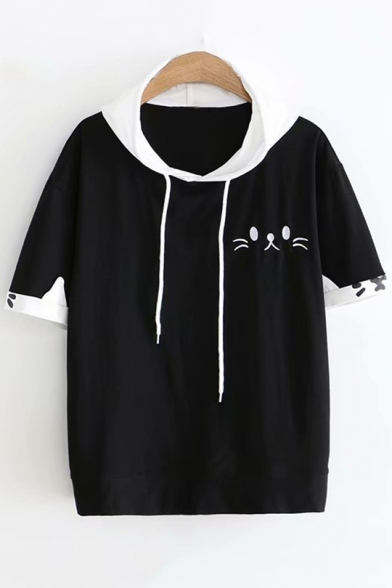 Girls Cute Cartoon Cat Face Embroidery Short Sleeve Hooded Loose Tee