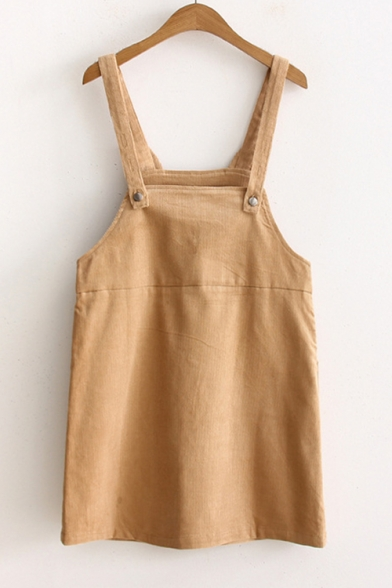 Girls Cute Cat Ear Letter I'LL EVEN SHARE MY CAT WITH YOU Embroidery Casual Mini Corduroy Overall Pinafore Dress