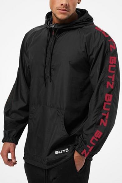 Guys Fashion Letter Long Sleeve Hooded Windbreaker Running Training Anorak Jacket
