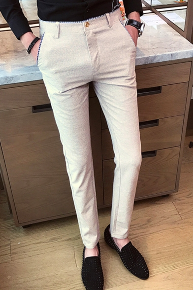 Guys Fashion Simple Plain Slim Fit Tailored Suit Pants Dress Pants