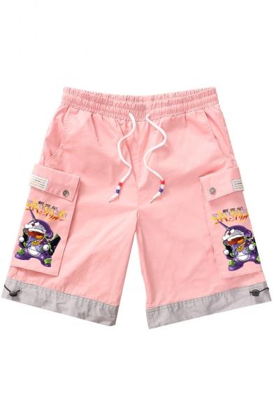 Guys Summer New Fashion Cartoon Printed Drawstring Waist Casual Cargo Shorts with Side Pockets