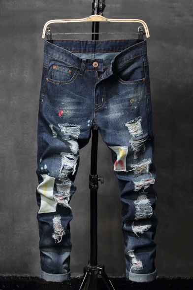 Hot Fashion Vintage Washed Spray Paint Printed Patched Men's Blue Casual Ripped Jeans