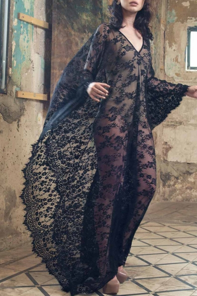 Hot Stylish V Neck Back and Front Oversize Straps Back Sheer Lace Holiday Maxi Kaftan Dress