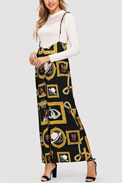 Hot Stylish Womens Black Spaghetti Straps Cartoon Print Wide Leg Overall Jumpsuits