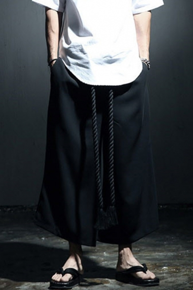 Men's Dark System Simple Plain Black Punk Style Loose Dance Pants Wide Leg Pants