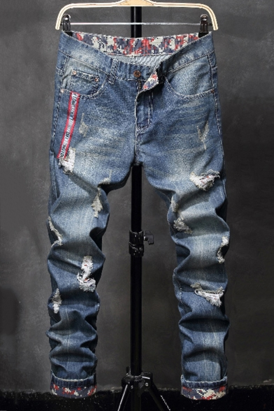 Men's Fashion Blue Washed-Denim Letter Printed Ribbon Patched Rolled Cuffs Zip-fly Ripped Jeans