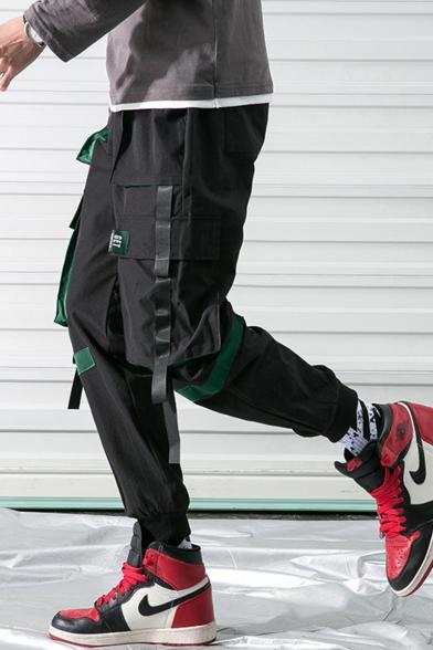 Men's New Stylish Plain Ribbon Embellished Multi-pocket Casual Trendy Cargo Pants