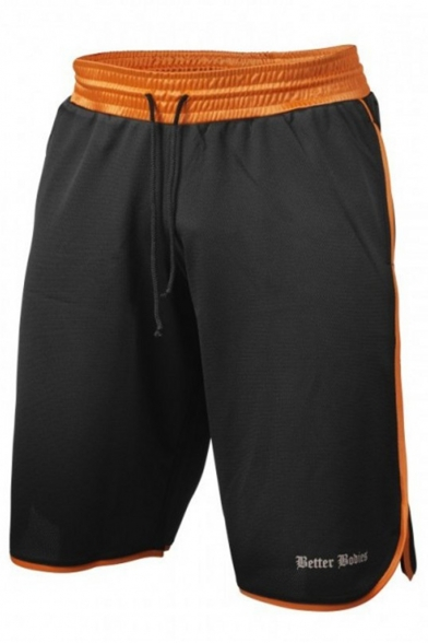 Men's Summer Fashion Letter Printed Contrast Trim Drawstring Waist Loose Fit Training Shorts