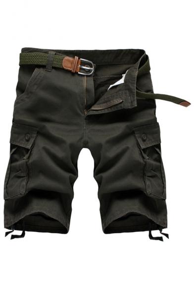Men's Summer New Fashion Solid Color Multi-pocket Design Ribbon Embellished Zip-fly Cargo Shorts