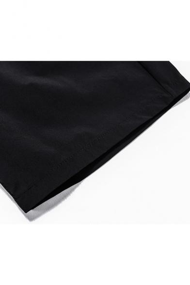 Men's Summer New Trendy Letter BAD BOY Figure Printed Drawstring Waist Black Sports Shorts