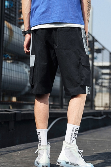 Men's Summer Trendy Street Style Letter Printed Large Flap Pocket Side Drawstring Waist Casual Loose Cargo Shorts