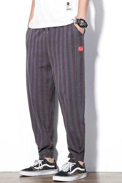 Men's Summer Trendy Stripes Printed Drawstring Waist Thin Liner Tapered Pants