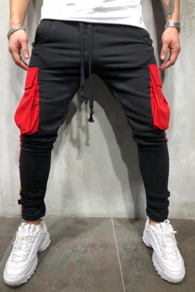 Men's Trendy Drawstring Waist Fashion Colorblocked Flap Pocket Sporty Skinny Pencil Pants