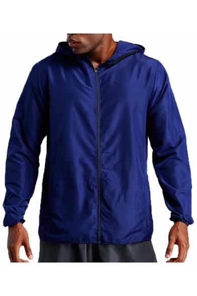 Mens New Trendy Outdoor Waterproof Zip Up Hooded Training Skin Jacket Coat