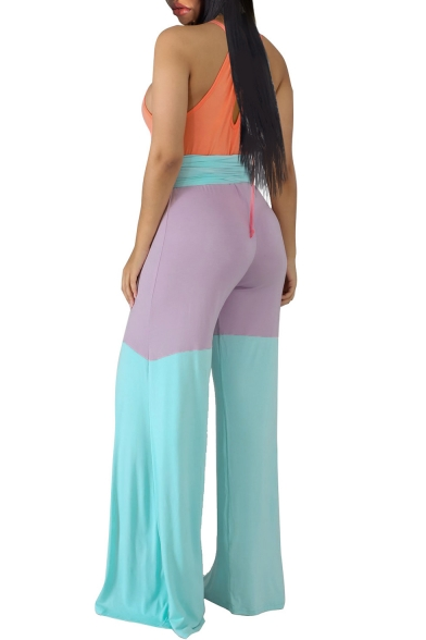New Arrival Stylish Halter Neck Sleeveless Colorblock Wide Leg Leisure Jumpsuits