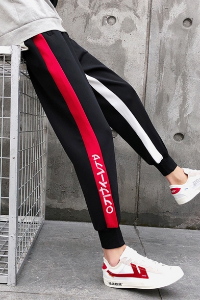 New Fashion Colorblock Stripe Side Letter Printed Relaxed Fit Men's Black Casual Tapered Pants