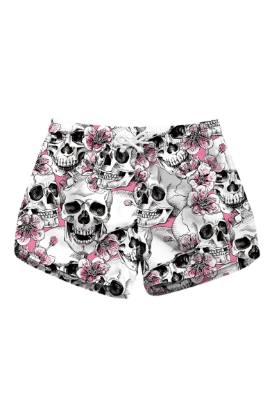 New Stylish White Floral Skull Printed Casual Swimwear Beach Shorts