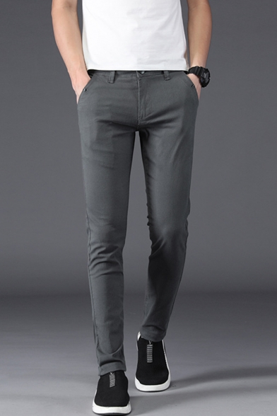 Stylish Basic Simple Plain Casual Cotton Dress Pants for Men