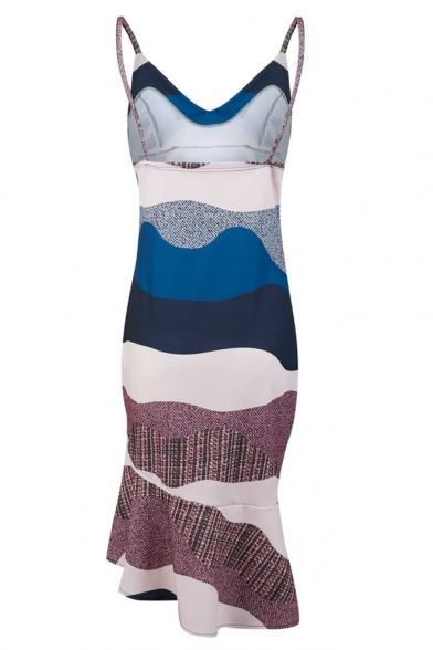 Summer Chic Unique Color Block V-Neck Ruffled Hem Midi Bodycon Cami Dress