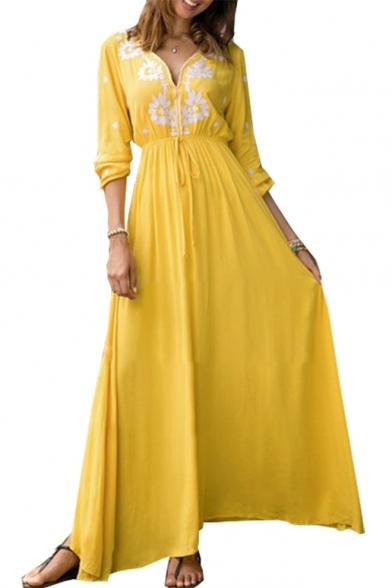 Baycheer / Summer Fashion Boho Style V-Neck Long Sleeve Drawstring Waist Maxi Yellow Swing Dress