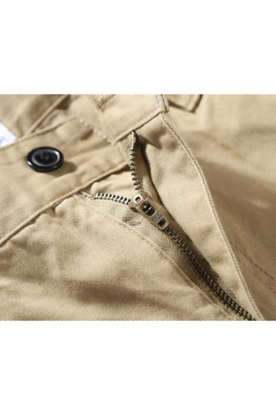 Summer Fashion Solid Color Zip-fly Casual Cargo Shorts for Men
