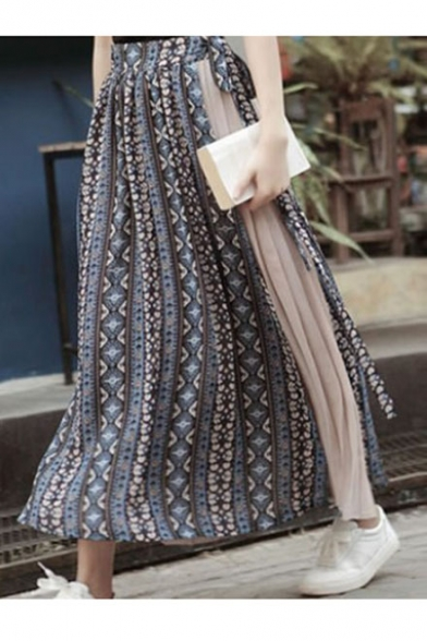 Summer Hot Sale Folk Style Colorblock Chiffon insert 3D Printed A-Line High Waist Pleated Maxi Skirt
