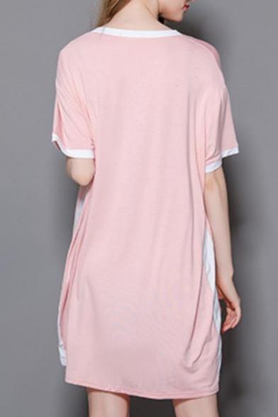 Summer New Trendy V Neck Short Sleeve Striped Side Mini T-Shirt Dress