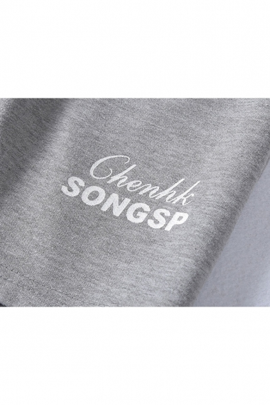 Summer Simple Fashion Letter SONGSP Printed Drawstring Waist Casual Cotton Sweat Shorts