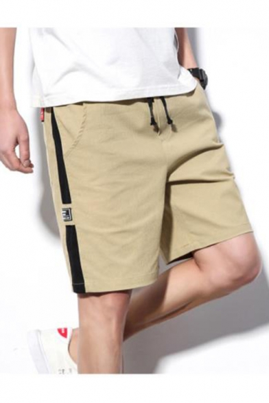 Summer Trendy Contrast Side Patched Letter Patched Drawstring Waist Casual Sweat Shorts